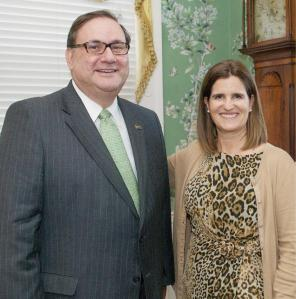 NVE Bank President and CEO Robert Rey poses with Mary Pat Christie, First Lady of New Jersey and Chair of the Hurricane Sandy NJ Relief Fund.