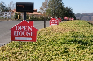 "alt=""row of open house signs"""